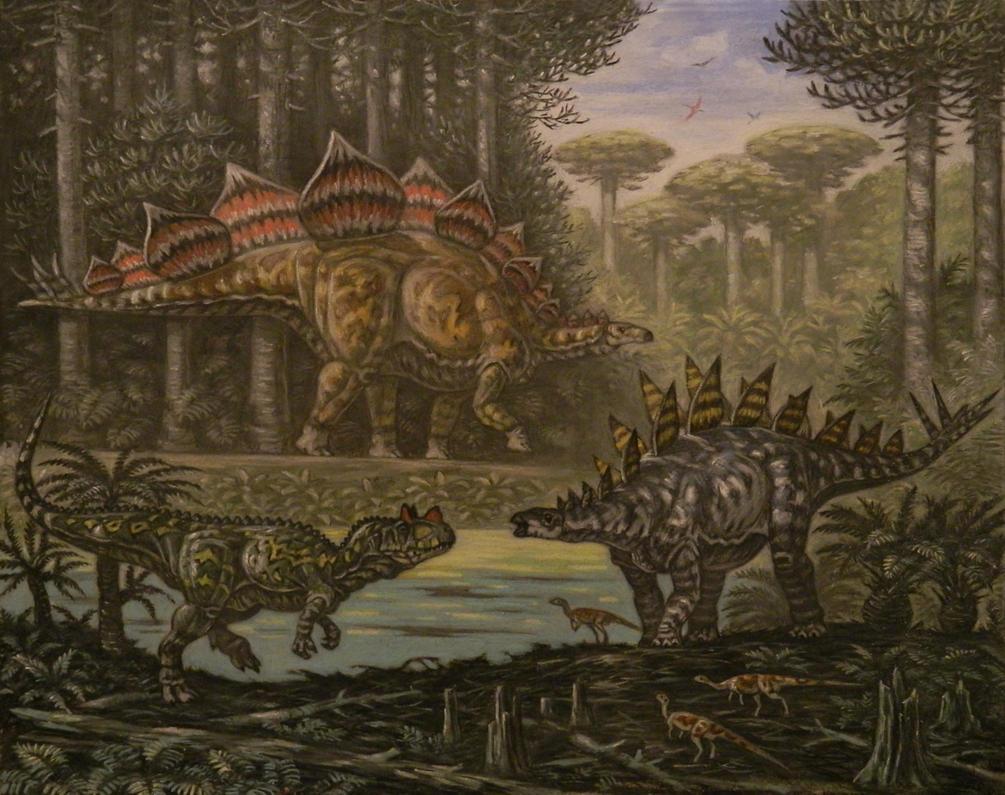 Awesome Paleoart  Stegosaurus__tuojiangosaurus__ceratosaurus__by_abelov2014-d8plcxd