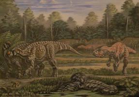 Muttaburrasaurus, Australovenator, Koolasuchus. by ABelov2014