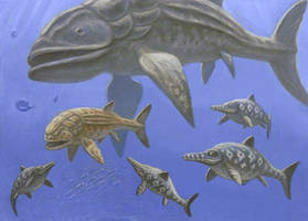 Leedsichthys, Ophthalmosaurus. by ABelov2014