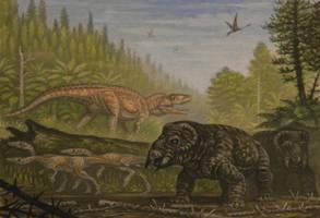 Postosuchus, Coelophysis, Placerias by ABelov2014