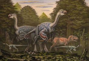 Gigantoraptor, Alectrosaurus by ABelov2014