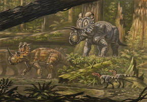 Coronosaurus, Albertaceratops by ABelov2014