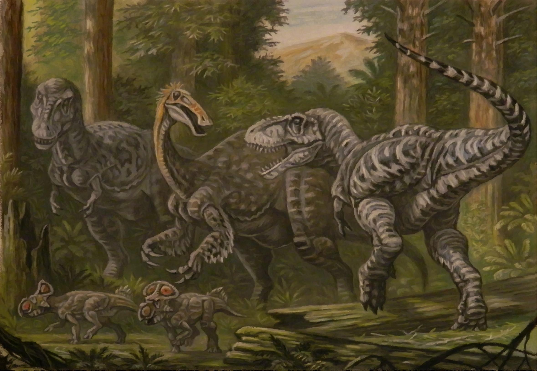 Tarbosaurus, Deinocheirus, Protoceratops by ABelov2014