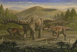 Argentinosaurus, Giganotosaurus by ABelov2014