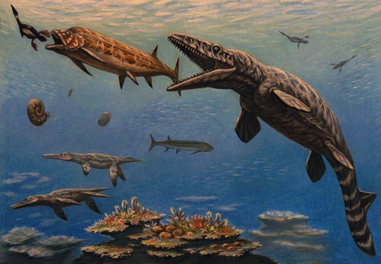 Hesperornis, Xiphactinus,  Tylosaurus by ABelov2014