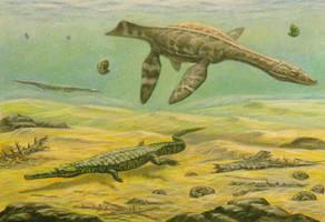 Teleosaurus, Rhomaleosaurus by ABelov2014