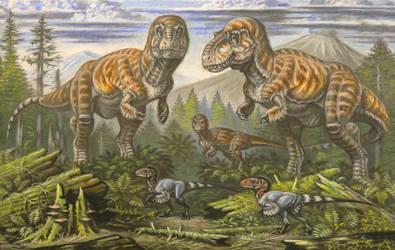 Daspletosaurus, Dromaeosaurus by ABelov2014