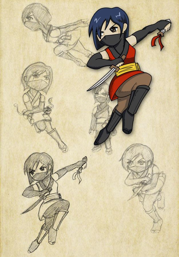 Ninja chibi sketches by Pooky-di-Bear