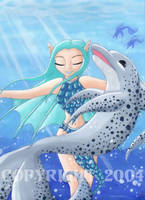 Sea Nymph and Dolphin by cageddreams