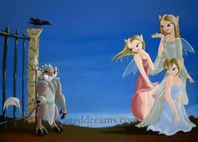 Flirting Fairies by cageddreams