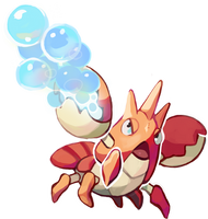 Corphish use Bubblbeam! by Yusiso