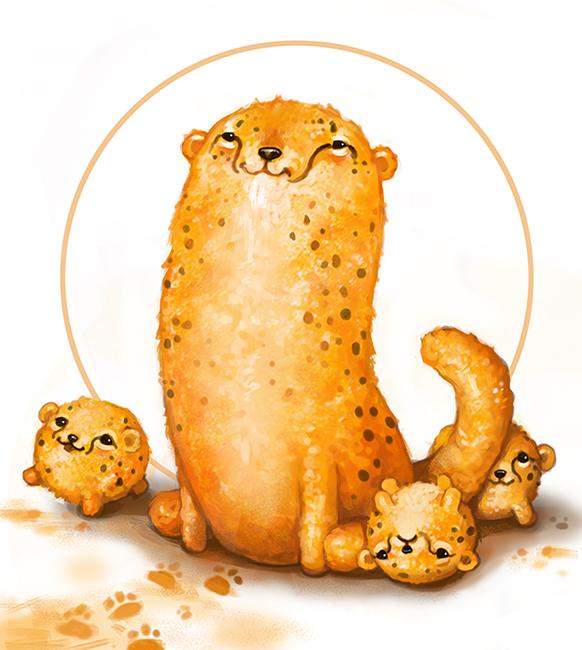 how to draw a cute cartoon cheetah