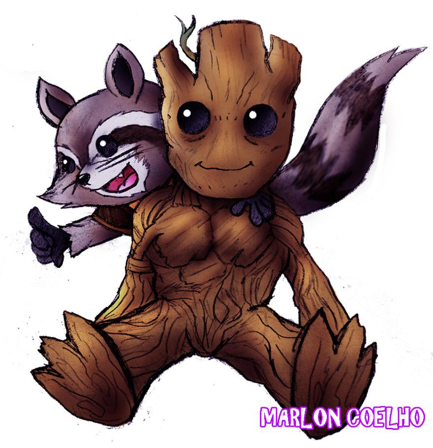 Star Lord And Rocket Raccoon By Timothygreenii On Deviantart: Chibi Rocket And Groot By Lightdark1001 On DeviantArt