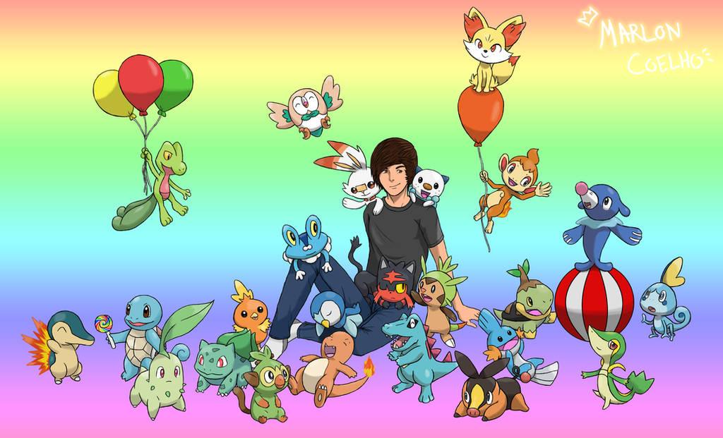 Marlon And Pokemon Starters by lightdark1001