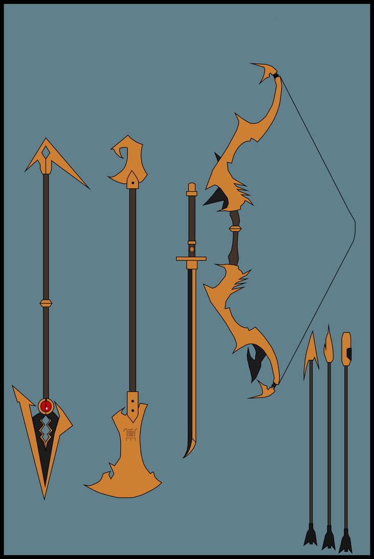 Naruto's Celestial Bronze Weapons by Nenshoyaju-Raizer on