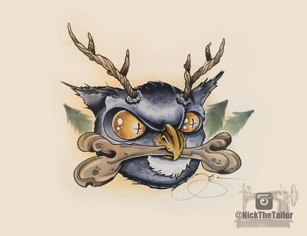 Horned Owl Tattoo Design Horned Owl New School Tattoo