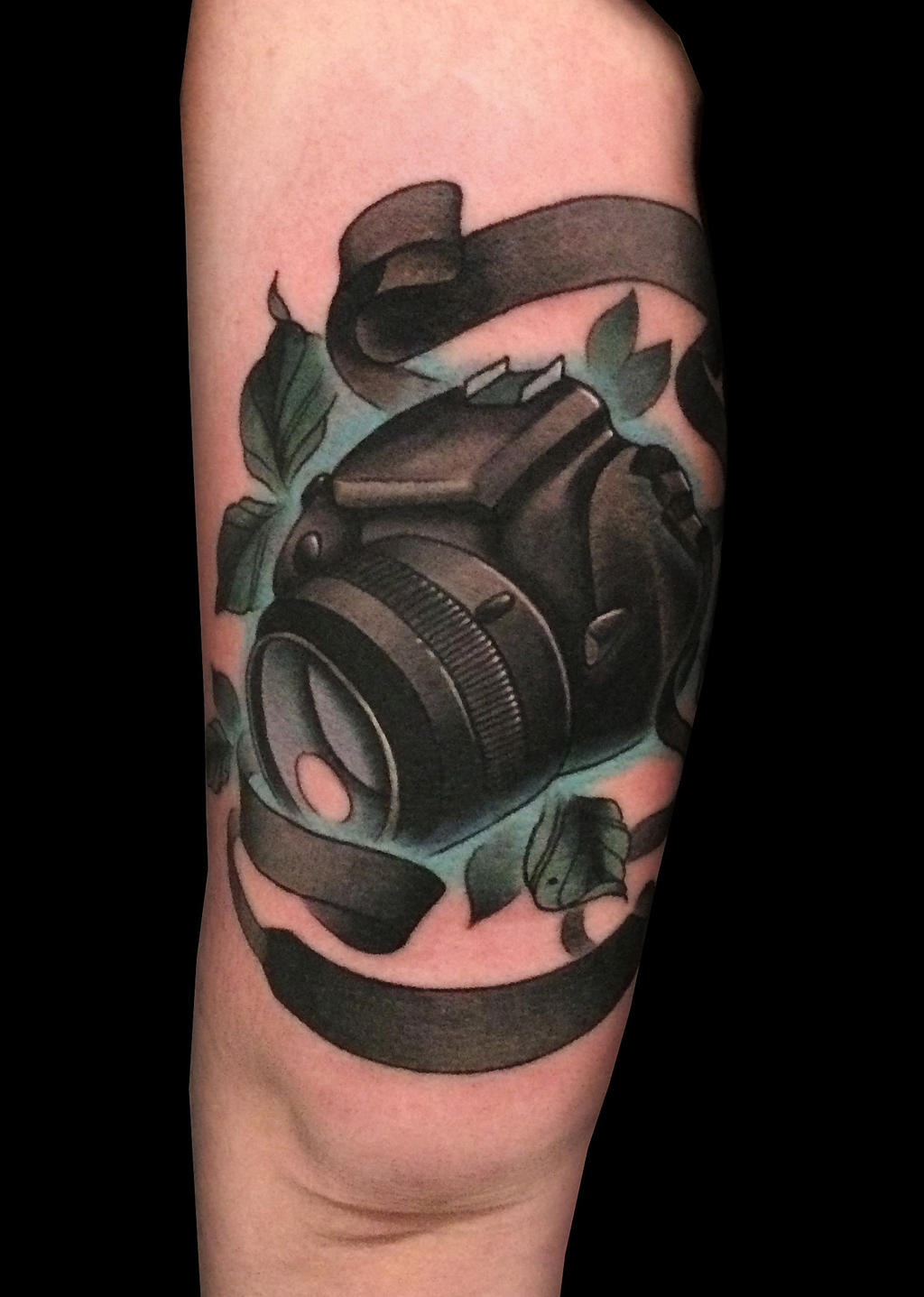 colorful arm tattoo canon camera design by nickthetailortattoo on deviantart. Black Bedroom Furniture Sets. Home Design Ideas