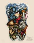 Alice in Wonderland Tattoo Design, White Rabbit