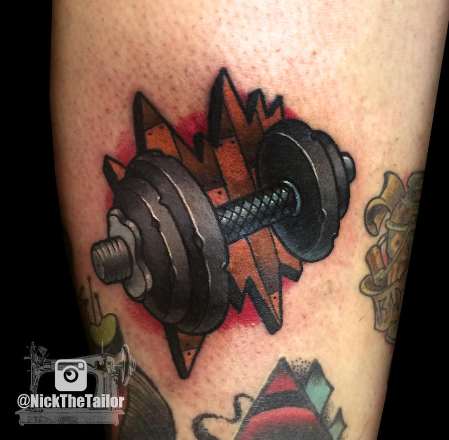 Full color neo traditional dumbell tattoo workout by for Art machine productions tattoo