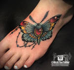 Full Color Moth Foot Tattoo, with Gems - Butterfly