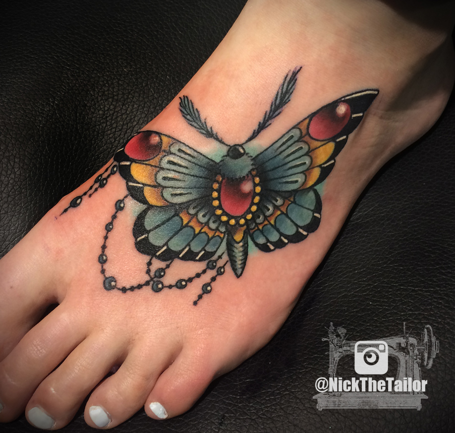 Full Color Moth Foot Tattoo With Gems Butterfly By