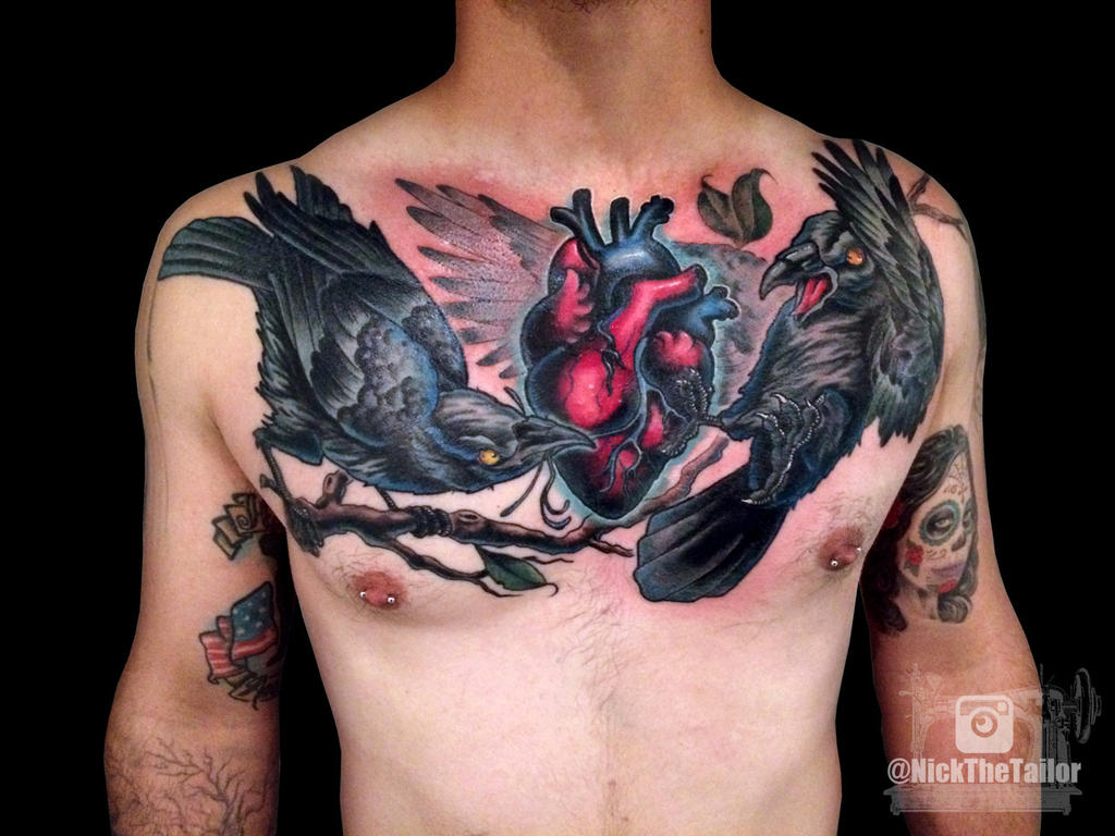 Colorful Chest Tattoo Anotomical Heart And Ravens By