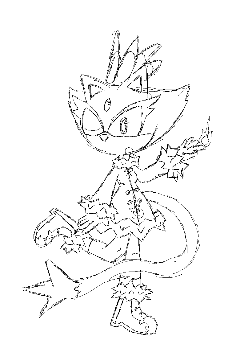 Blaze the cat winter sketch by sky yoshi on deviantart for Blaze the cat coloring pages