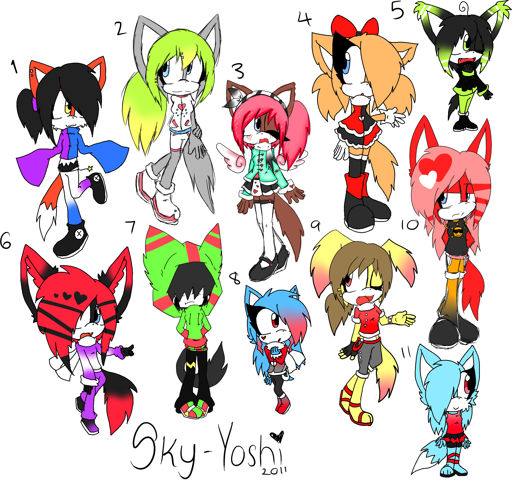 Mixed Sonic Adoptables CLOSED by Sky-Yoshi