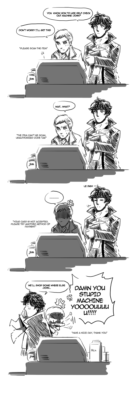 Sherlock+kitty vs the machine by xanseviera