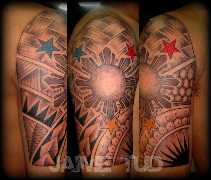 e3558866433c5 Tribal with 3 Stars and A Sun by JaimeTudTattoos on DeviantArt