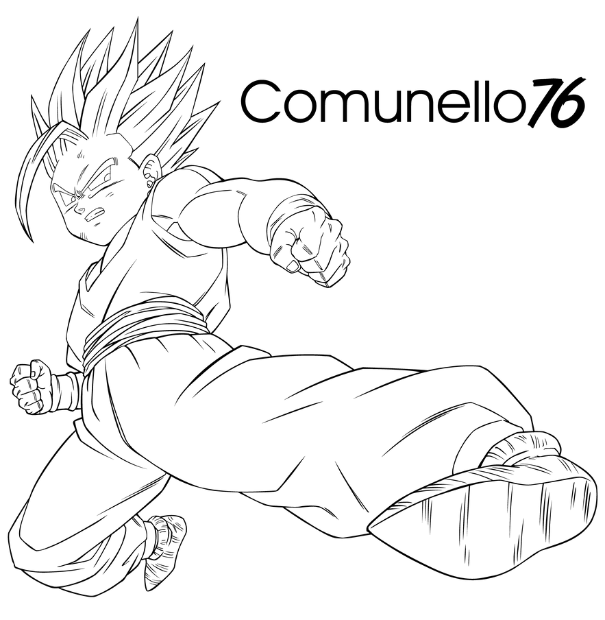 gohan super sayan 2 lineart by comunello76 on deviantart