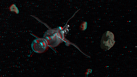 In deep space (Anaglyph 3D) by megomedveddd