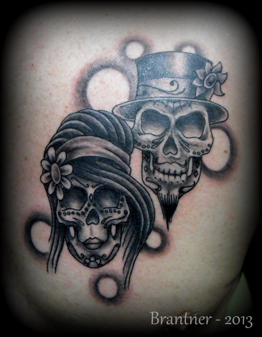 Bride and groom sugar skulls by brantnertattoo74 on deviantart for Skull love tattoos