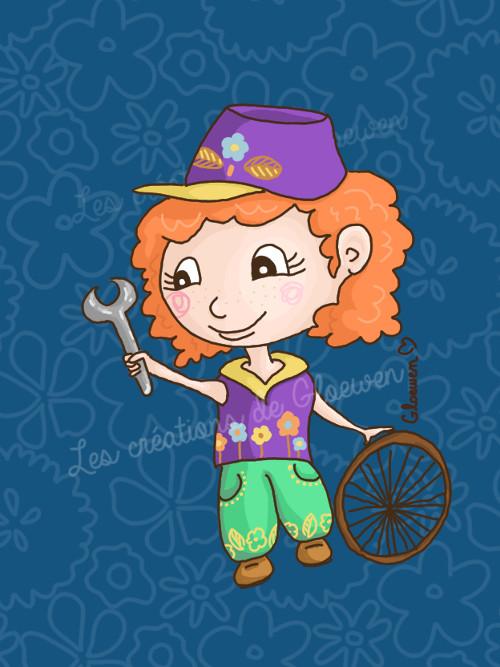 little mechanic girl by Gloewen-Art