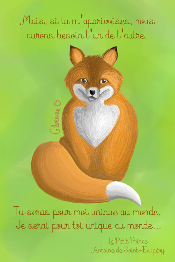 Fox and quote from Saint Exupery by Gloewen-Art