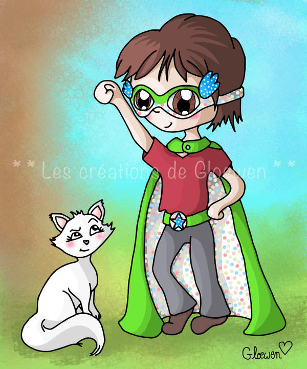 Little superhero and white cat by Gloewen-Art
