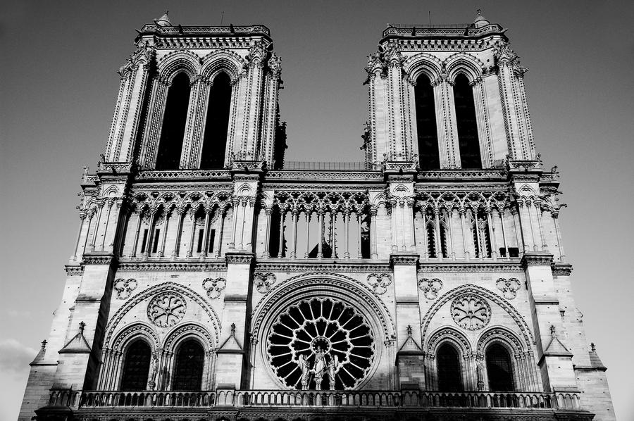 Notrdame Paris Black And White By Relderson