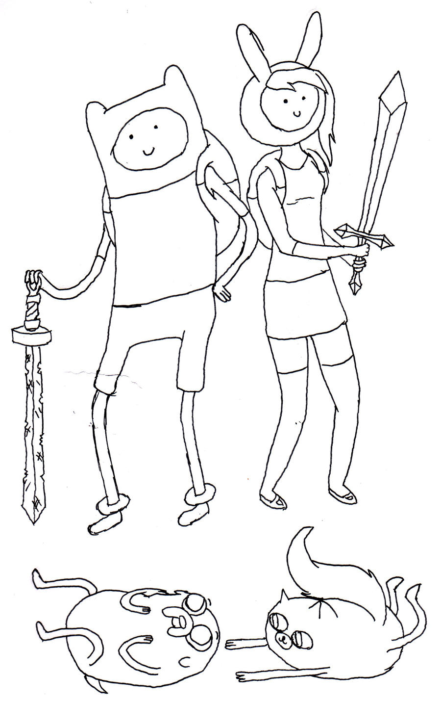 Finn Fionna Jake And Cake Lineart By Snapperboy On Fionna And Cake Coloring Pages