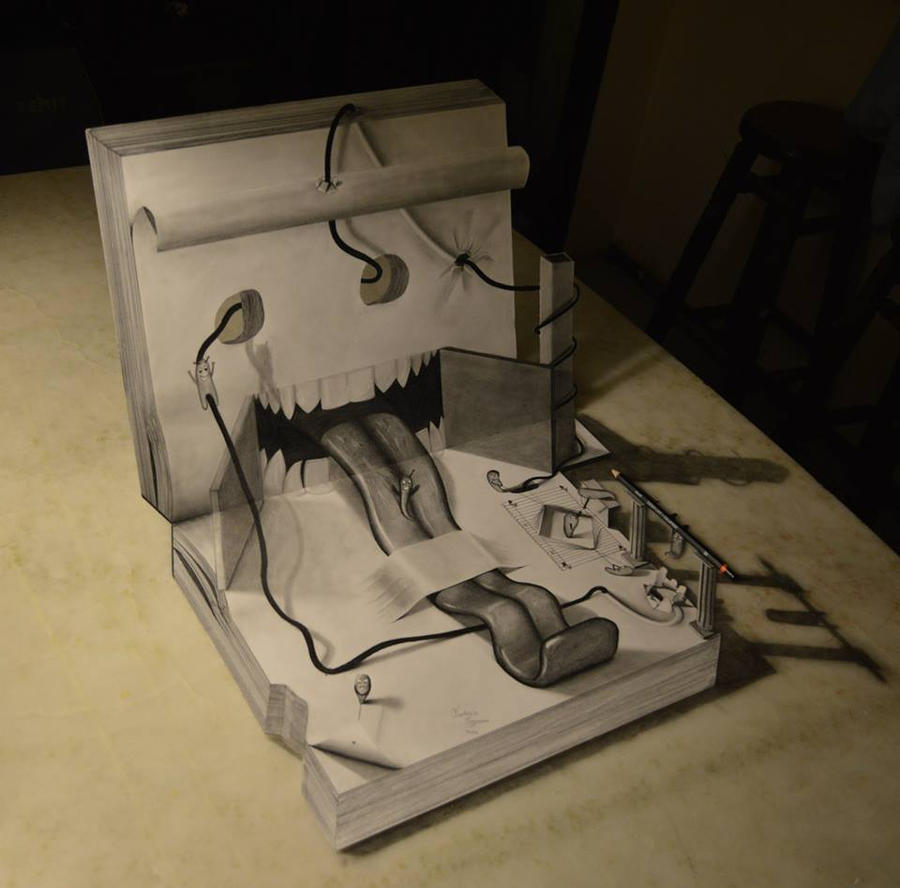 3d Drawing Book Of Imagination By Fedevigevani On Deviantart
