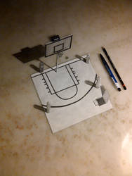 3D DRAWING - BASKETBALL COURT by fedevigevani