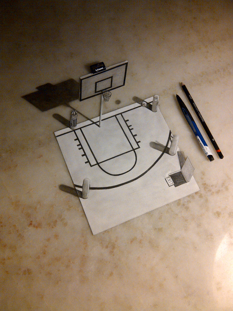 3d Drawing Basketball Court By Fedevigevani On Deviantart
