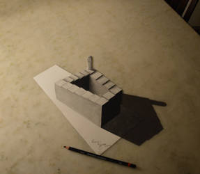 ENDLESS STAIRCASE - 3D/ANAMORPHIC DRAWING by fedevigevani