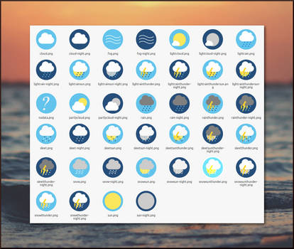 Flat Circle Weather Icons