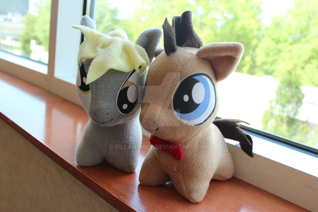 Doctor Whooves and Derpy Plushies by eillahwolf
