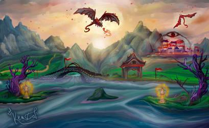 Fantasy landscape by krustal-chan