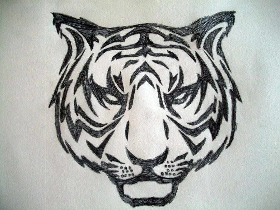 simple tiger head tribal