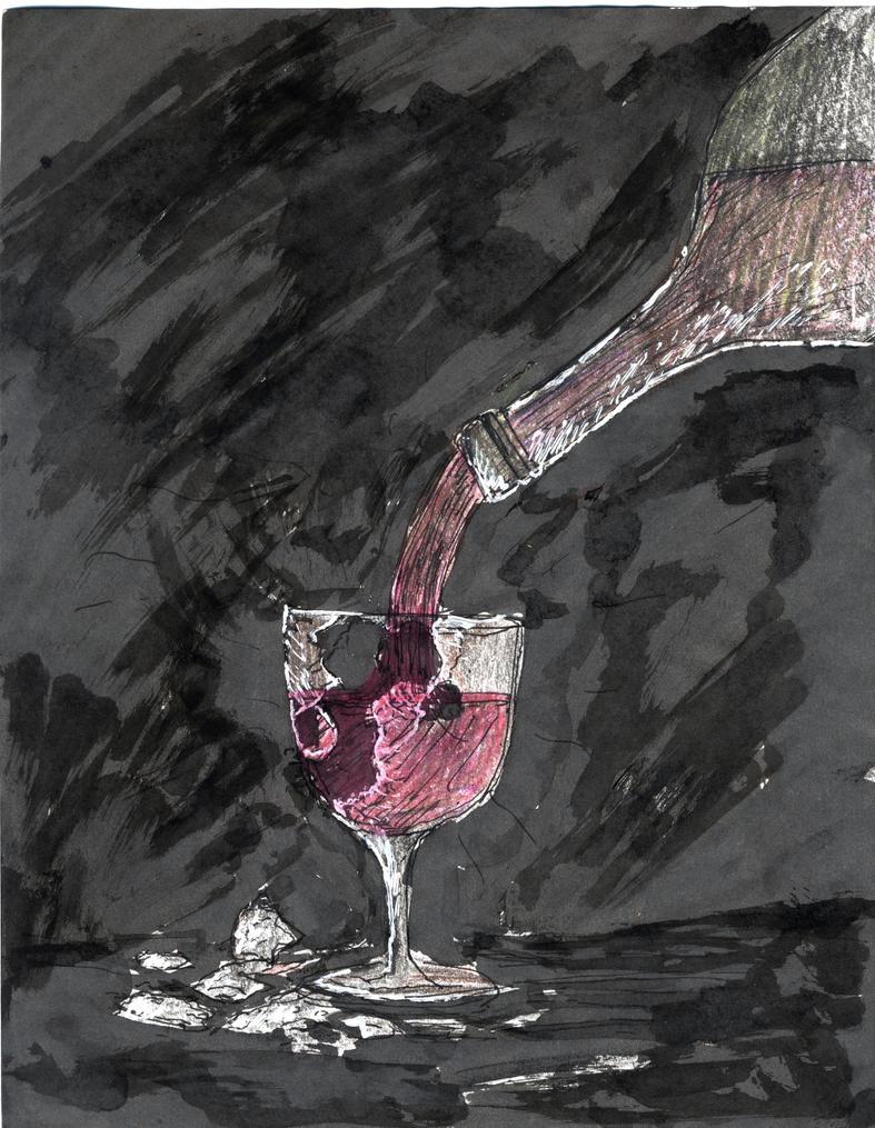 Broken Wine Glass by Yuri Lev   ArtWanted.com   Broken Wine Glass Painting