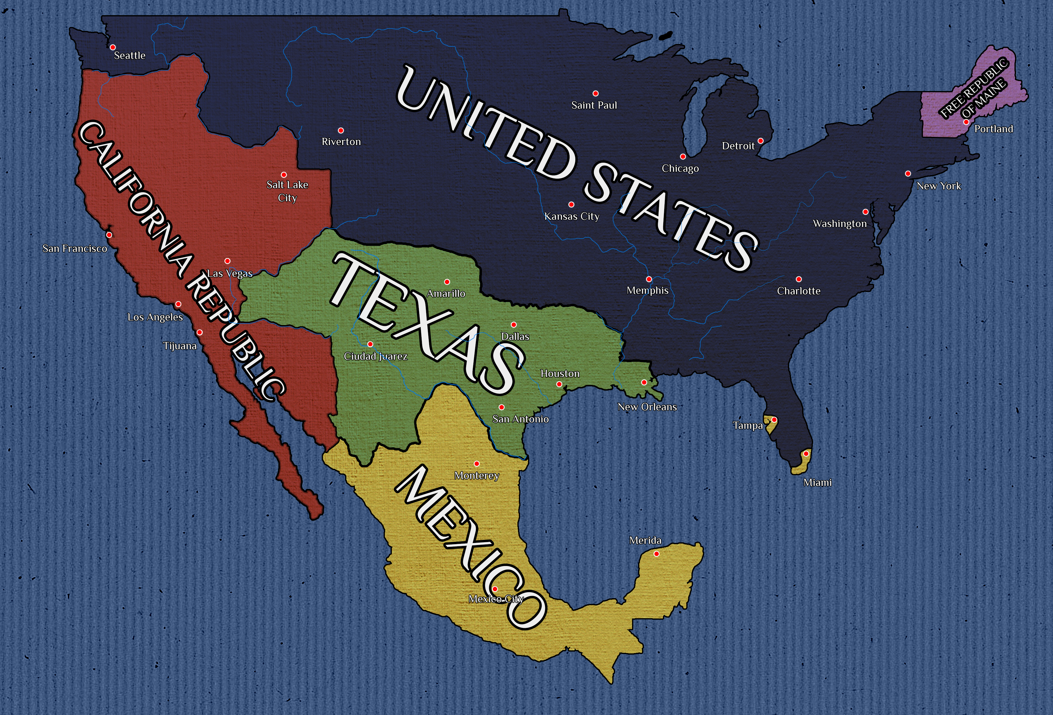 Fictional Map Of California Republic By Wolfgrid On Deviantart