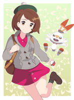 Pokemon Sword And Shield Protagonist + Scorbunny by cheesemine