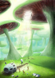 Mushroom Planet Crash-Landing by StugMeister